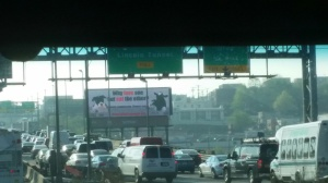 Our billboard right by the entrance to the Lincoln Tunnel on the NJ Turnpike.